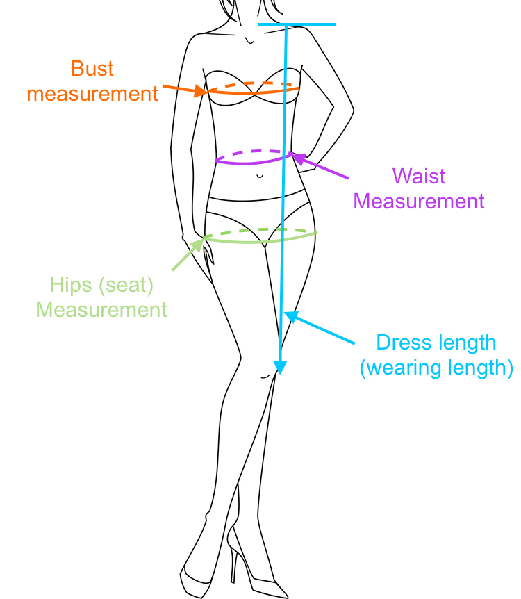 Bust/Chest: With arms relaxed at sides, measure around the fullest part of the chest/bust. Waist: Measure around the natural waistline, smallest part of waist.