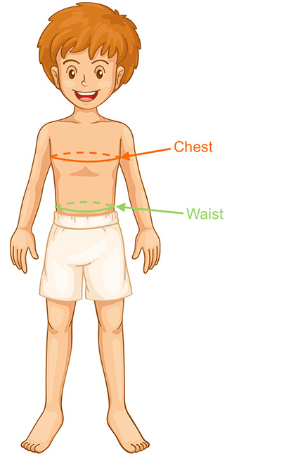 Determine boys' youth clothing size by body measurements