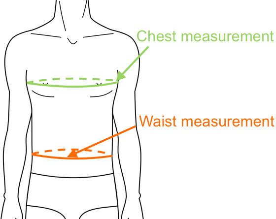 Determine Coat and Jacket Size with chest and waist measurements