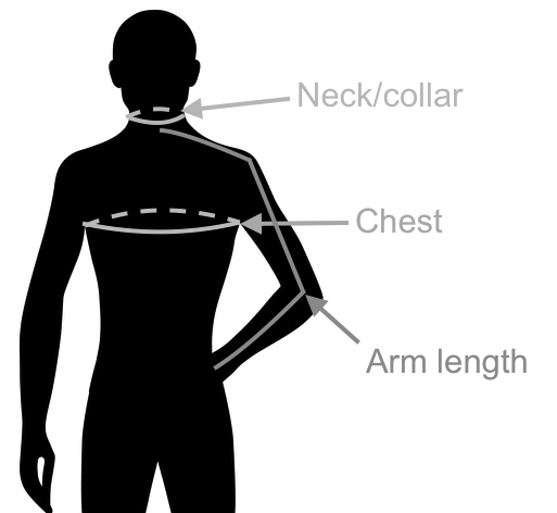 Measure neck circumference, chest circumference and arm length to determine your shirt size