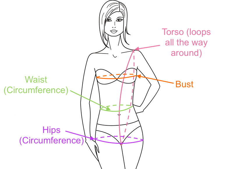 Swimsuit size based on bust, waist and hips circumference